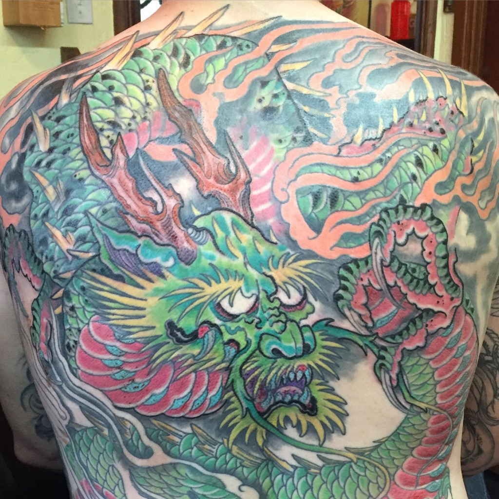 Traditional japanese dragon back piece tabernacle tattoo for Best tattoo artist in florida