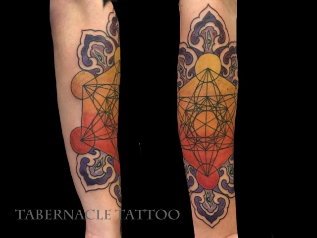 Geometric tattoo artist