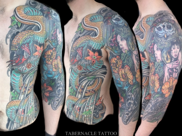 Snake body suit tattoo