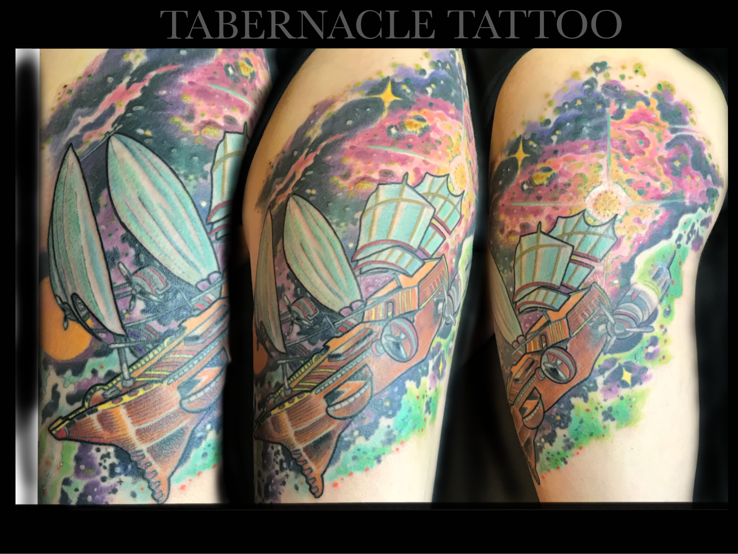 Space Ship Tattoo| Space Shuttle| Astronaut Tattoo