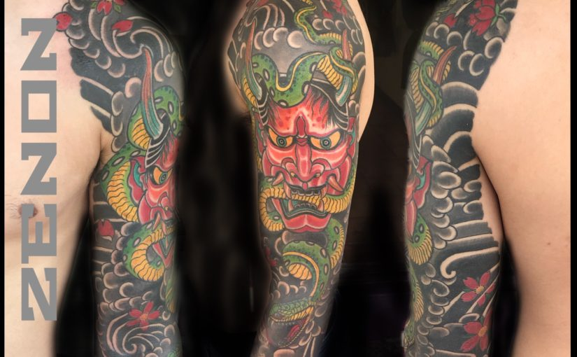 Snake and Hannya Japanese sleeve Tattoo