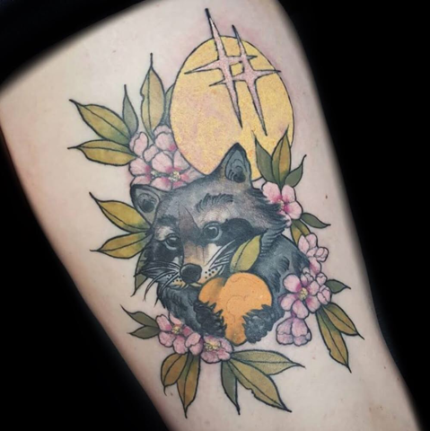 Raccoon with Flowers and Moon