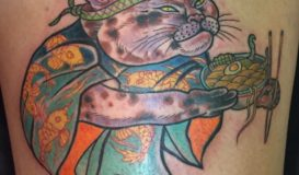 Ramen cat tattoo